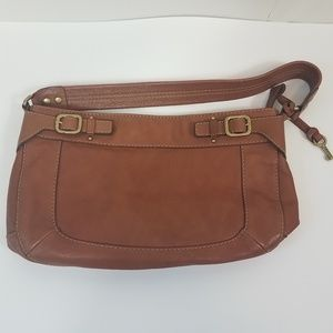 Fossil light carmel shoulder bag gold hardwear